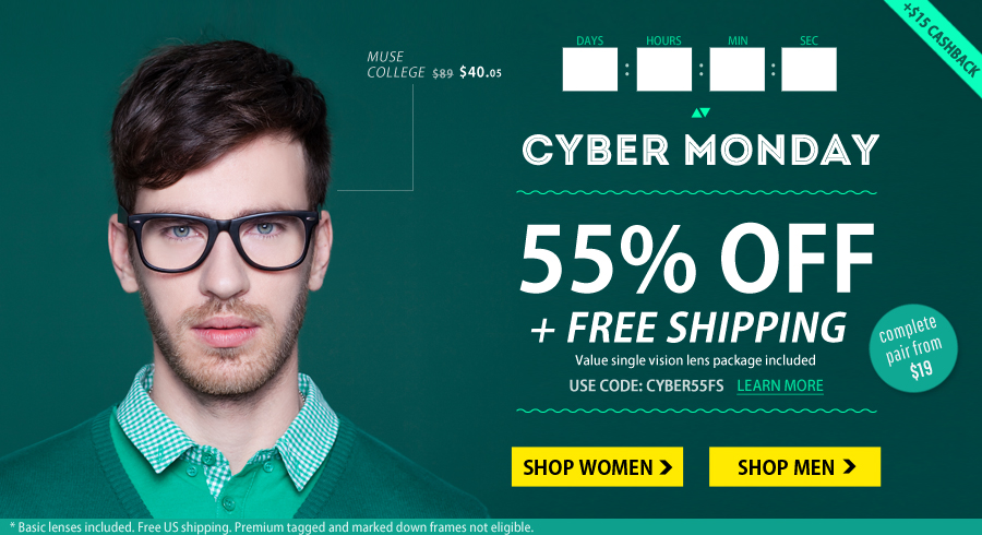 GlassesUSA: 55% Off + Free Shipping + $15 Cash Back