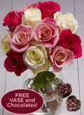 Organic Bouquet: Sweet Romance Rose Bouquet W/Free Vase And Chocolates