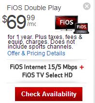 Verizon Fios: Verizon FiOS TV + FiOS Internet Double Play For Promotion $69.99/mo