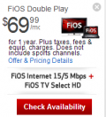 Verizon Fios: Verizon FiOS TV + FiOS Internet Double Play For Promotion $69.99/mo
