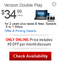 Verizon Fios: Verizon High Speed Internet + Phone (Double Play Bundle) For $34.99/mo