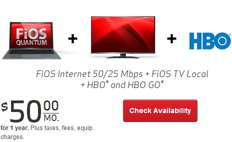 Verizon Fios: Verizon FiOS Double Play Local TV + FiOS Quantum Internet For $50/mo