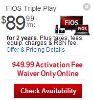 Verizon Fios: Verizon FiOS Triple Play TV + FiOS Internet + Phone - $89.99/mo