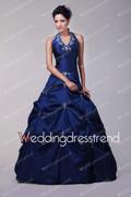 WeddingDressTrend: 10% For Vintage Halter Satin Pick-Ups Blue Prom Dresses