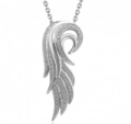 Diamond Delight: Sterling Silver Angel Feather Diamond Pendant Necklace