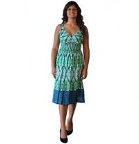 Wholesale Fashion Deals Online: Green Print Cotton Beaded Dress