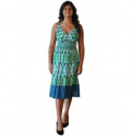 Wholesale Fashion Deals Online: Green Print Cotton Beaded Dress