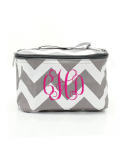 Heritage Wedding: Personalized Embroidered Cosmetic Chevron Bag