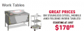 IndustrialSupplies.com: Get Stainless Steel Mobile & Folding Work Tables Starting At $170