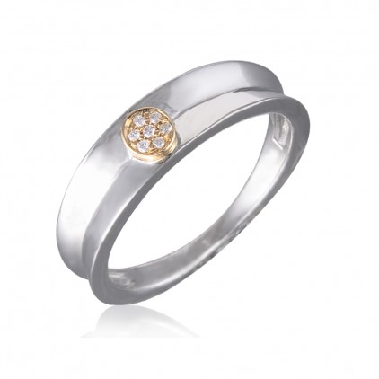 Diamond Delight: Pave Set Diamond Women's Wedding Ring In 10k Yellow Gold & Silver (0.03 Carat)