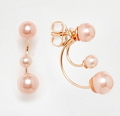 Asos: ASOS Rose Gold Plated Sterling Silver Double Faux Pearl Swing Earrings