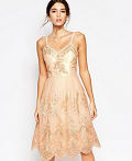 Asos: Chi Chi London Premium Metallic Lace Midi Prom Dress With Cami Straps