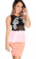 AMI Clubwear: $20 Off Sexy Black Neon Coral Floral Crochet Tulle Peplum Party Dress