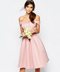 Asos: Chi Chi London Midi Prom Dress With Full Skirt And Bardot Neck