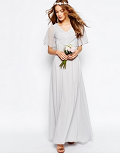 Asos: WEDDING Lace And Pleat Maxi Dress