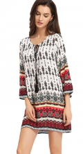 Chicuu: 28% Off Retro Printing Bohemian Short Dress