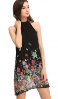 Chicuu: 24% Off Chiffon Print Halter Black Dress