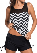 Lulugal: 85% Off Chevron Print Black Two Piece Swimwear