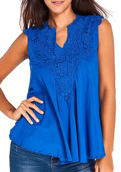Liligal: 60% Off Lace Panel Split Neck Sleeveless Blouse