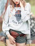 Stylewe: Gray Off-Shoulder Batwing Crew Neck Tribal Sweatshirt