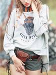Stylewe: Gray Off-Shoulder Batwing Crew Neck Tribal Sweatshirt
