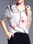 Stylewe: White Casual Silk Stand Collar Blouse
