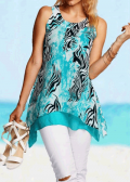 Lulugal: 58% Off Round Neck Asymmetric Hem Printed Tank Top