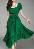 Lulugal: 87% Off Belt Design Round Neck Short Sleeve Green Dress