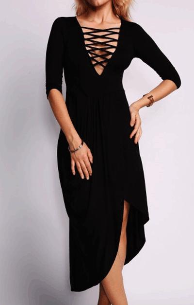Liligal: 55% Off Lace Up Design Black Maxi Dress