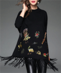 Stylewe: Black Bird Print Fringed Acrylic Embroidered Tunic