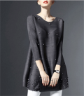 Stylewe: Gray Beaded Plain 3/4 Sleeve Crew Neck Tunic