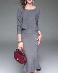 Stylewe: Two Piece Knitted Crew Neck Mermaid Midi Dress