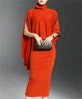 Stylewe: LONYUASH Orange Slit Two Piece Sheath Batwing Midi Dress