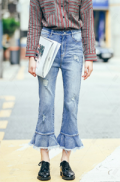 Dezzal: Ripped Flare Ankle Jeans For $ 74.99