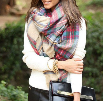 Chicnico: Soft Multicolor Plaid Raw Edge Scarf Just For $11.99