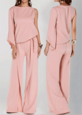 Liligal: 77% Off Pink Round Neck One Sleeve Wide Leg Jumpsuit