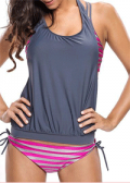 Liligal: 45% Off Tie Side Round Neck Striped Three Pieces Tankini