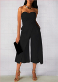 Liligal: 60% Off High Waist Strapless Solid Black Pocket Jumpsuit