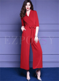 Ezpopsy: Stylish Bowknot Half Sleeve Jumpsuits