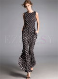 Ezpopsy: Stylish Asymmetric Dot Print Slim Jumpsuits
