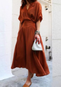 Beautifulhalo: New Fashion Elegant V Neck Short Sleeve Plain Chic A-Line Maxi Dress
