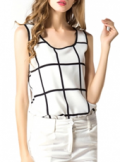 Beautifulhalo: Only $11.52 ! Mono Plaid Modern Style Chiffon Tanks