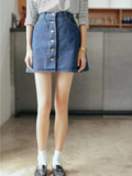 Beautifulhalo: Plain Button Fly Denim Mini A-Line Skirt