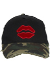 Lauren Moshi: JILLY SML RED MOUTH PATCH CANVAS TRUCKER HAT