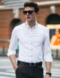 Coolsmen: 70% Off Casual Shirt With Collar Decoration Pure Color