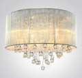 Beautifulhalo: Silver Drum Shade And Rich Crystal Rainfall Flush Mount Chandelier Light
