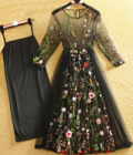Beautifulhalo: Bohemia Stylish Embroidery Pattern Sheer 3/4 Length Sleeve Midi Dress
