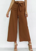 Beautifulhalo: Women's Fashion Elegant Loose Belted Wide Leg  Pants