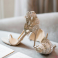 FSJshoes: Champagne Bridal Sandals Rhinestone Stiletto Heels