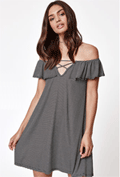 PacSun: 30% Off LA Hearts Ribbed Ruffle Off-The-Shoulder Dress